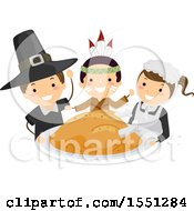 Clipart Of A Group Of Children In Native American Indian And Pilgrim Costumes Holding A Roasted Turkey Royalty Free Vector Illustration by BNP Design Studio