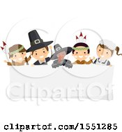 Clipart Of A Group Of Native American Indian And Pilgrim Children With A Turkey Over A Thanksgiving Sign Royalty Free Vector Illustration