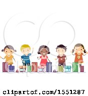 Group Of Children In A Toy Town