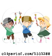 Clipart Of A Group Of Children With Journey Sticks Royalty Free Vector Illustration