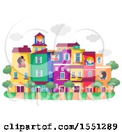 Group Of Children In A Town With Colorful Buildings
