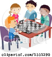 Clipart Of A Group Of Children Playing Chess Royalty Free Vector Illustration