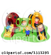 Clipart Of A Group Of Children Playing On An Insect Playground Royalty Free Vector Illustration