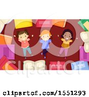 Clipart Of A Group Of Children Resting In A Border Of Books Royalty Free Vector Illustration