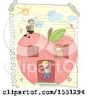 Group Of Children Playing In An Apple House Doodled On A Piece Of Paper