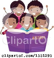 Poster, Art Print Of Group Of African American School Children Reading About History