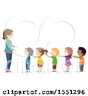 Clipart Of A Group Of Children Standing In Line With Their Arms Out Royalty Free Vector Illustration