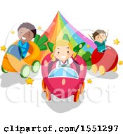 Group Of Children Driving Vegetable Cars On A Rainbow