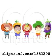 Group Of Children In Vegetable Costumes