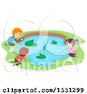 Clipart Of A Group Of Children Studying A Pond Royalty Free Vector Illustration
