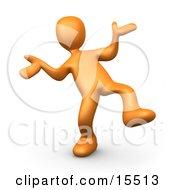 Happy Orange Person Doing A Dance Clipart Illustration Image