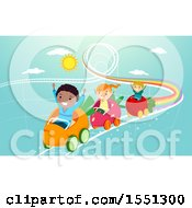 Clipart Of A Group Of Children Riding A Produce Roller Coaster Royalty Free Vector Illustration
