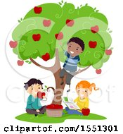 Group Of Children Eating Fresh Apples From A Tree