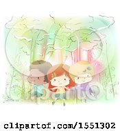 Clipart Of A Group Of Children Floating In A Whimsical Forest Royalty Free Vector Illustration by BNP Design Studio
