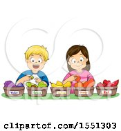 Clipart Of A Group Of Children Sorting Fruits By Color Royalty Free Vector Illustration