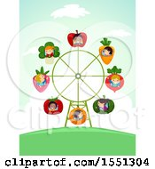 Clipart Of A Group Of Children On A Produce Ferris Wheel Royalty Free Vector Illustration