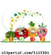 Group Of Children On A Fruit And Vegetable Train