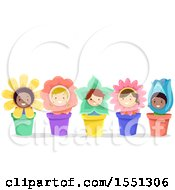 Group Of Children In Flower Pot Costumes