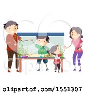 Clipart Of A Family Decorating And Setting Up An Aquarium Royalty Free Vector Illustration