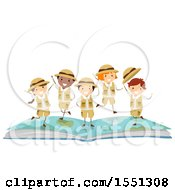 Clipart Of A Group Of Children Explorers On Top Of An Open Book Royalty Free Vector Illustration