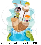 Poster, Art Print Of Group Of Children Sailing A Boat On Earth