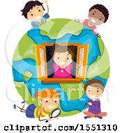 Clipart Of A Group Of Children Playing In A Globe House Royalty Free Vector Illustration