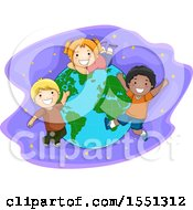Clipart Of A Group Of Children Around Planet Earth Royalty Free Vector Illustration