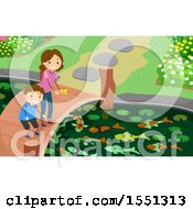 Clipart Of A Mother And Son Feeding Fish In A Pond Royalty Free Vector Illustration