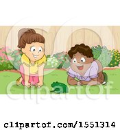 Clipart Of Children Excitedly Watching A Frog In A Yard Royalty Free Vector Illustration by BNP Design Studio