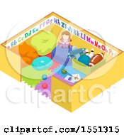 Clipart Of A Play Pen With Toys Royalty Free Vector Illustration