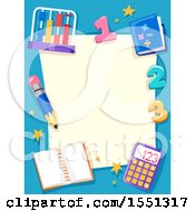Blue Math Border With An Abacus Numbers Notebook And Calculator Around Paper