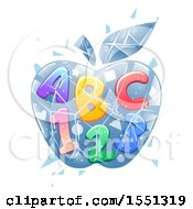 Clipart Of A Frozen Ice Apple With Abc And 123 Royalty Free Vector Illustration