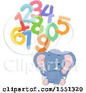 Clipart Of A Cute Elephant Holding Number Balloons Royalty Free Vector Illustration