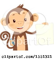 Clipart Of A Monkey Mascot Holding A Blank Piece Of Paper And Pen Royalty Free Vector Illustration