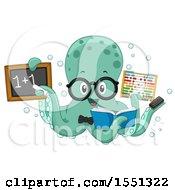Math Teacher Octopus Holding Supplies