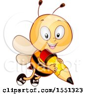 Clipart Of A Cute Bee Flying With A Pencil Royalty Free Vector Illustration