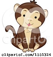 Clipart Of A Cute Sitting Monkey Royalty Free Vector Illustration
