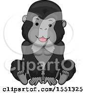 Clipart Of A Cute Gorilla Royalty Free Vector Illustration