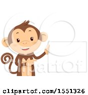 Monkey Mascot Holding A Blank Sign