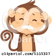 Clipart Of A Monkey Mascot With A Headache Royalty Free Vector Illustration