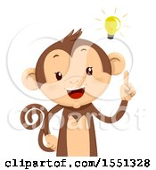 Clipart Of A Monkey Mascot With A Bright Idea Royalty Free Vector Illustration