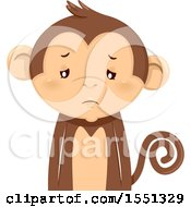 Clipart Of A Depressed Monkey Mascot Royalty Free Vector Illustration