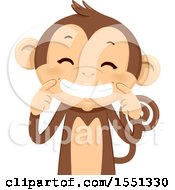 Clipart Of A Monkey Mascot Holding Up His Mouth In A Smile Royalty Free Vector Illustration