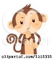 Clipart Of A Monkey Mascot Thinking Royalty Free Vector Illustration