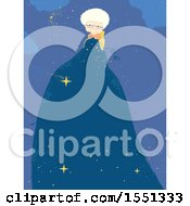 Clipart Of A Happy Senior Woman Crocheting A A Night Sky While Telling Stories Royalty Free Vector Illustration