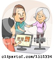 Clipart Of A Man Helping A Senior Woman Get To A Cashier Royalty Free Vector Illustration