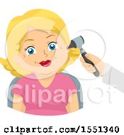 Clipart Of A Happy Senior Woman Having A Hearing Exam Royalty Free Vector Illustration