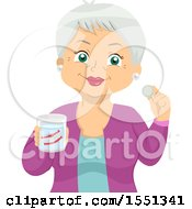 Clipart Of A Happy Senior Woman Holding A Cup With Her Dentures And A Cleaning Tablet Royalty Free Vector Illustration