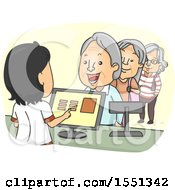 Clipart Of A Line Of Senior Citizens At A Store Royalty Free Vector Illustration