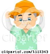 Senior Man Putting On A Hat